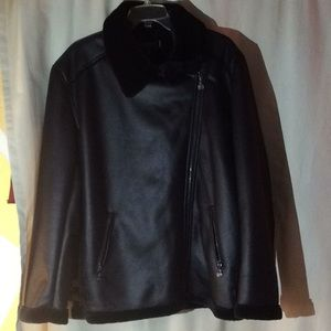 Max Studio faux leather and fur black bomber